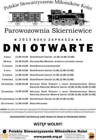 Dni Otwarte w Parowozowni Skierniewice, sezon 2013