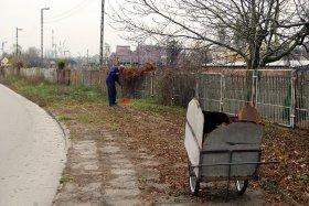 Sprzątanie liści wokół Parowozowni